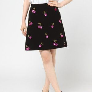 Kate Spade Sequin Cherries black skirt size 00